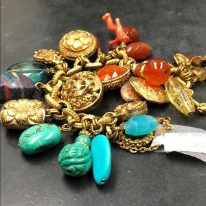 Stephen Dweck bronze and stone charm bracelet
